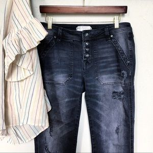 Free People Exposed Button Fly Distressed Denim